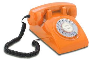 Retro Telefon mit Wählscheibe in Orange