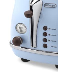 DeLonghi Vintage Toaster in Himmelblau - Detailansicht