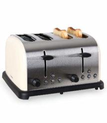 Klarstein Edelstahl Toaster im Retro-Design für Vier Toasts