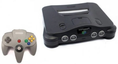 Nintendo 64 in schwarz mit Controller