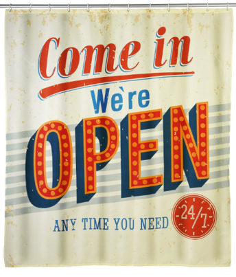 Retro Duschvorhang - We Are Open - American Diner