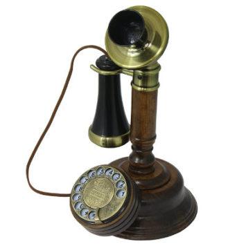Retro Holztelefon mit Wählscheibe