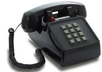 Retro-Telefon aus den 1970er Jahren mit Metallklingel