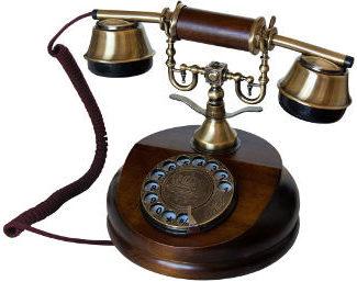 Retro Holztelefon mit Metall-Wählscheibe